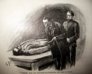 Holmes and Watson examine a body in an illustration by Sidney Paget